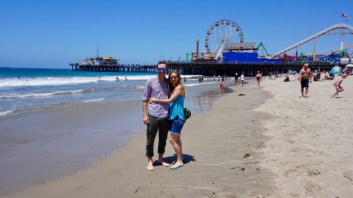 Me and Andrew on Santa Monica Beach, LA, with the Pier behind us