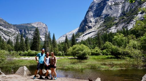 Me, Andrew and Jo at Mirror Lake in Yosemite National Park, California