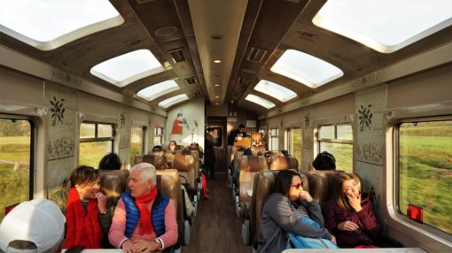 The inside of the Peru Rail train