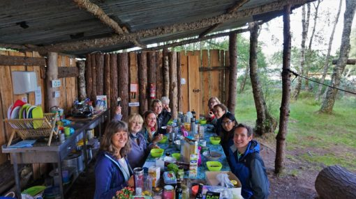 Communal meal at the yoga retreat at ACE Adventures in Scotland