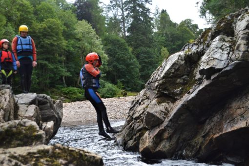 Cliff Jumping at Randolph's Leap on the River Findhorn, Scotland