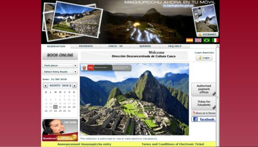 MACHU PICCHU TICKET website