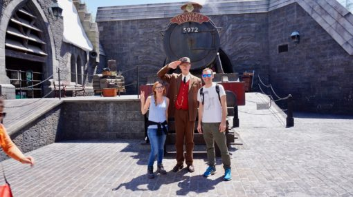Us with a guard and the Hogwarts Express at Universal Studios Hollywood, Wizarding World of Harry Potter