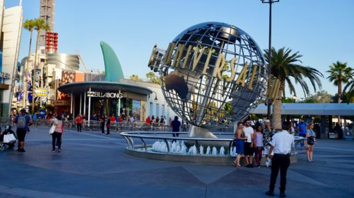 Universal Studios Hollywood globe at the entrance to the park