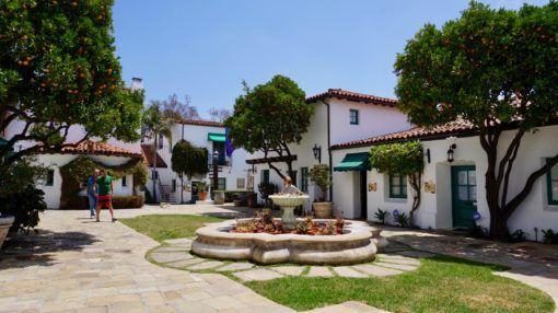 Mediterranean-style buildings in Santa Barbara, California