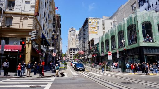 Downtown streets in San Francisco, California USA