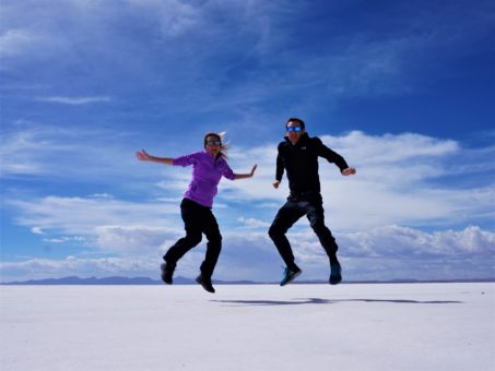 Us jumping on the Uyuni Salt Flats, Bolivia