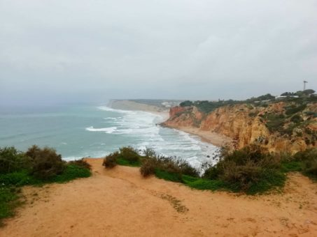 Stormy clifftops in Faro, Algarve