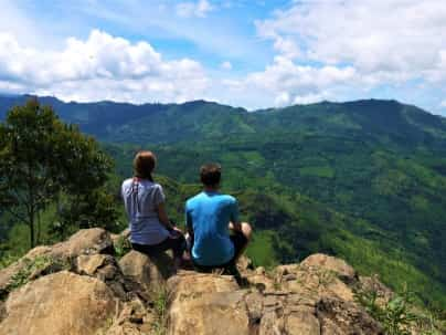 Us at a viewpoint while hiking in Ella, Sri Lanka