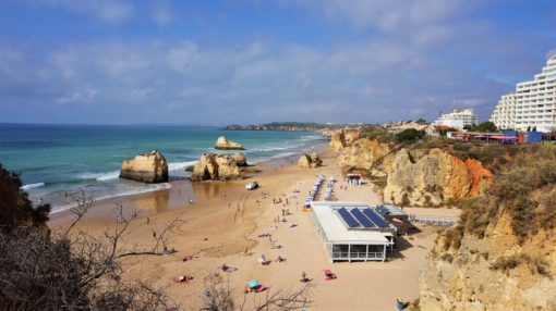 Praia da Rocha, beach from the clifftop in the Algarve, Portugal