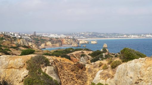 View from the Ponta da Piedade in the Algarve, Portugal, over the coast