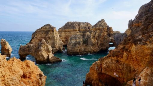 Rock formations in the sea at the Ponta da Piedade, Algarve, Portugal