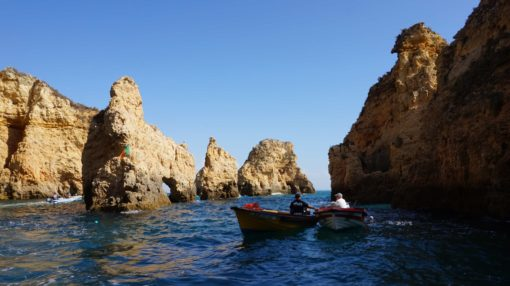 Rowing boasts in the water near the Ponta da Piedade, Algarve