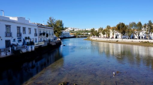 View of the river from the Roman bridge in Tavira, the Algarve, Portugal