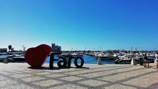 Love Faro sign by the marina in Faro, Portugal