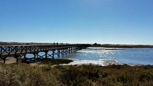 Bridge stretching over the lagoon at Quinta do Lago, Algarve, Portugal