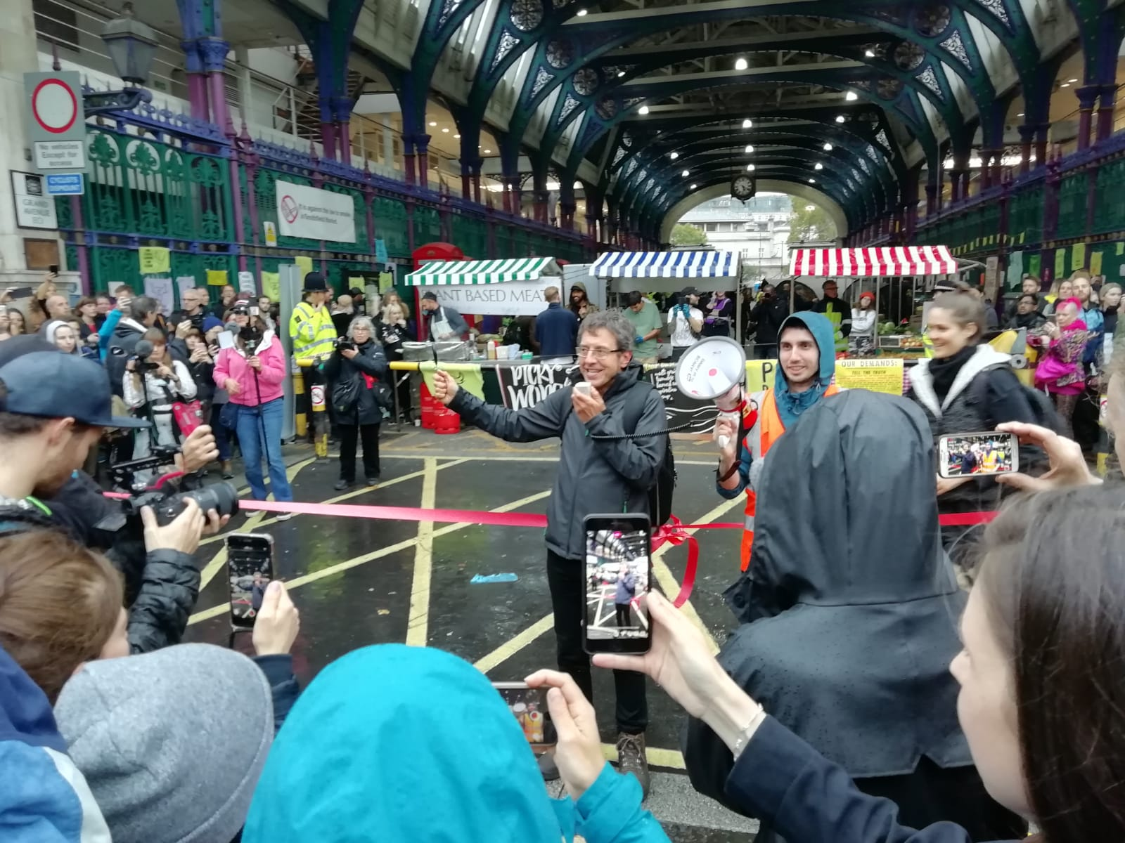 George Monbiot at the Animal Rebellion occupation of Smithfield Meat Market in London