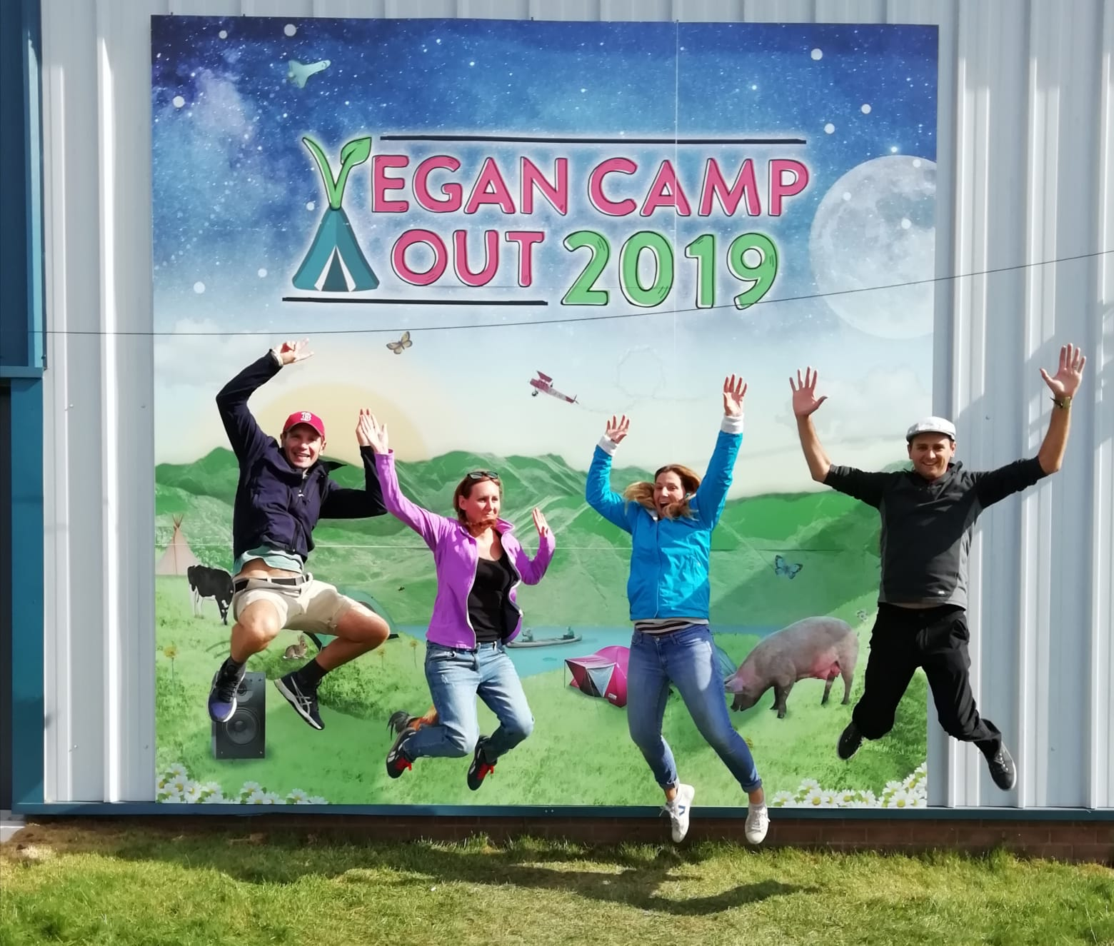 Jumping for joy at the Vegan Campout 2019