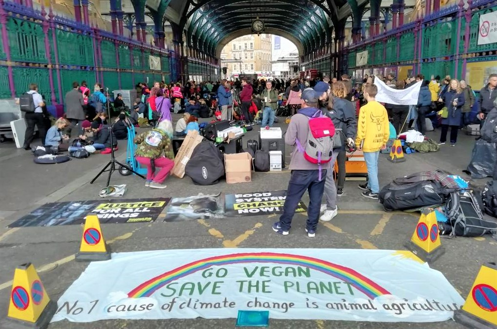 Go Vegan Save The Planet, banner at Animal Rebellion's occupation of Smithfield Market, London