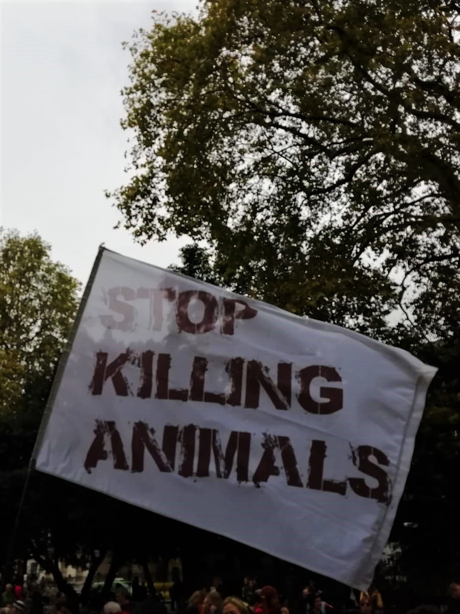 Stop Killing Animals flag at the Animal Rebellion March to Smithfield Meat Market