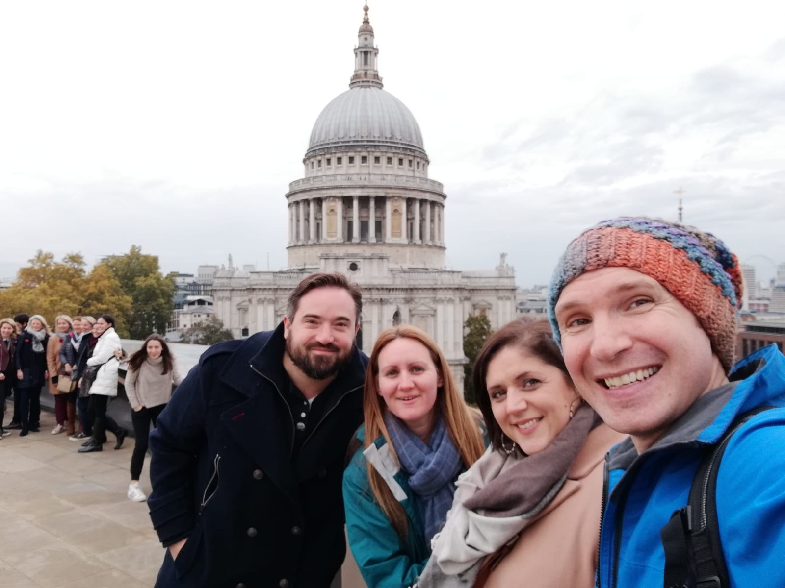 Us with friends overlooking St Paul's Cathedral, London